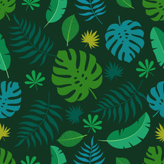 Exotic seamless colorful pattern with tropical jungle leaves on dark background. Floral modern pattern for textile, manufacturing etc. Vector illustration