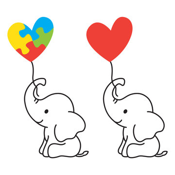 Vector illustration of a lined art baby elephant holding a heart shape balloon with Autism puzzle piece symbol.