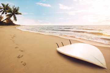 Fototapete - Surfboard on tropical beach at sunrise in summer. seascape of summer beach with sea, blue sky background.