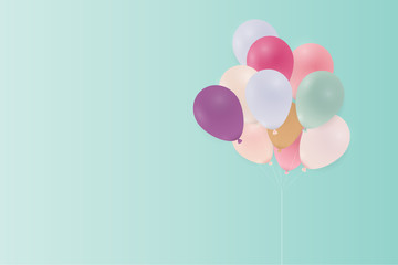 Birthday card with pastel balloons. Vector illustration