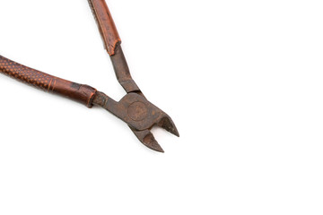 Wire cutters on a white background.