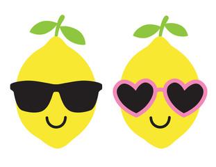 Vector illustration of cool lemon wearing sunglasses in summer.
