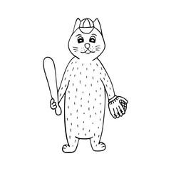 Hand-drawn cat baseball player. Black-and-white line art.