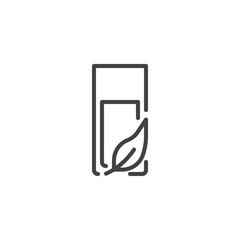 Glass of water and leaf outline icon. linear style sign for mobile concept and web design. Healthy lifestyle simple line vector icon. Symbol, logo illustration. Pixel perfect vector graphics