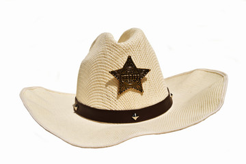 Cowboy white hat with sheriff star badge isolated on white background