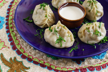 Dumplings, Manti - traditional meat dish of Central Asia, Turkey, Mongolia, Korea.