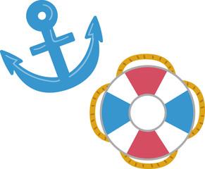 錨と浮き輪のイラスト素材