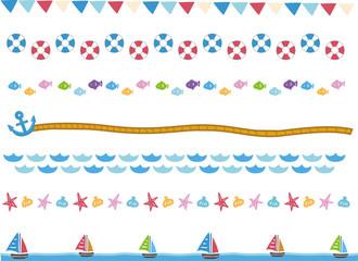 マリン 海のイメージ 罫線、ラインセット