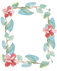 watercolor illustration of twigs and flowers in a rectangular frame