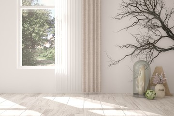 White empty room with home decor and green landscape in window. Scandinavian interior design. 3D illustration