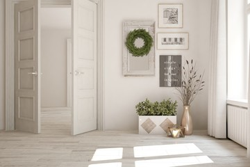 White empty room with open door and home decor. Scandinavian interior design. 3D illustration