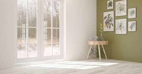 White empty room with table and winter landscape in window. Scandinavian interior design. 3D illustration
