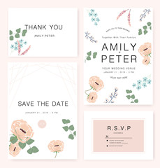 Elegant Wedding invitation card with flower watercolor theme
