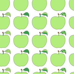 Seamless pattern with cartoon green apples.