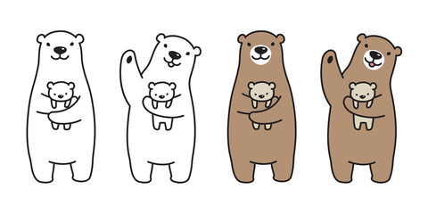 bear vector polar bear panda logo icon hug kid illustration character cartoon doodle