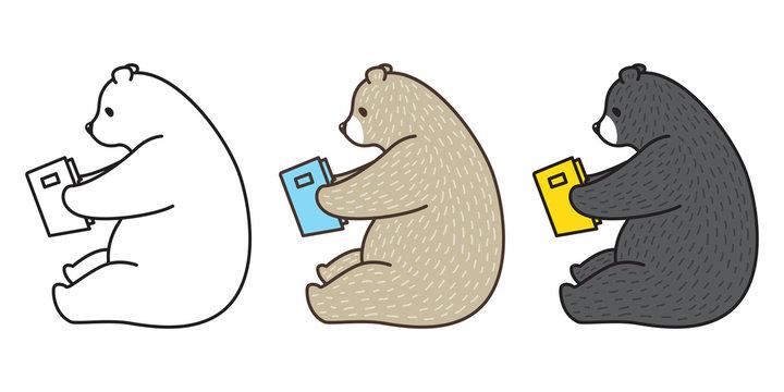 bear vector polar bear icon logo panda illustration reading book character cartoon doodle