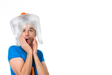 man man with hair dryer