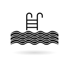 Pool vector icon, Swimming pool with ladder icon
