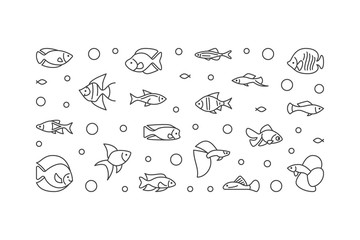Aquarium fish vector banner. Aquariumistics illustration