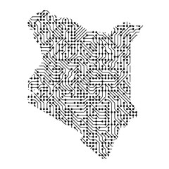 Abstract schematic map of Kenya from the black printed board, chip and radio component. Computer electronics processor motherboard. Vector illustration.