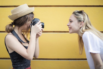 Taking a picture of a friend