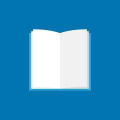 Open book icon. Vector flat book with white pages symbol