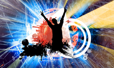 Abstract illustration with dancing people. Background ready for poster or banner