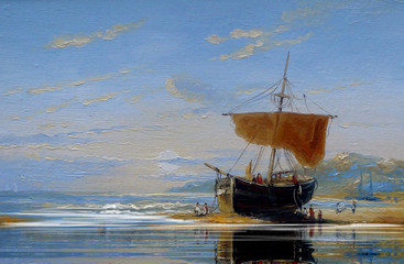 Oil paintings sea landscape, ships, boats.Fine art.