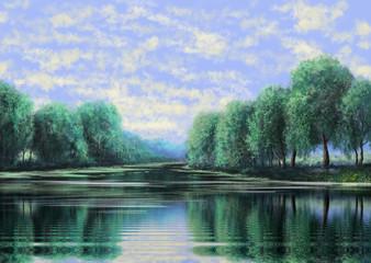 The art. Oil paintings landscape, rural, house. Fine art.
