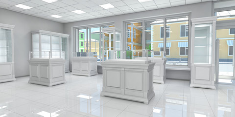 Interior of a small shop with shelves and glass showcases. Boutique. 3d illustration.