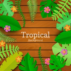 Jungle leaf in art paper style on wooden background with place for promotoin text. Spa salon card template. Exotic tropical jungle rainforest bright green palm monstera leaves and flowers border frame
