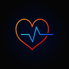 Cardiac cycle colored outline icon. Vector bright heartbeat sign