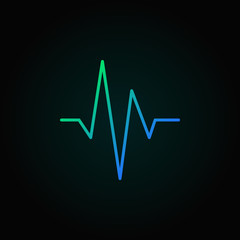 Heartbeat blue vector concept line icon or design element
