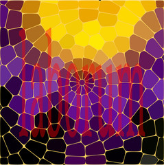 Mosaic color, yellow, lilac, black, oval stones, light background. Abstraction.