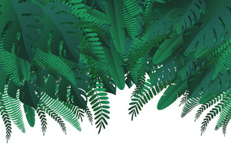 Tropical leaves. Paper cut style