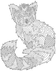 Coloring book page with beautiful red panda on white background