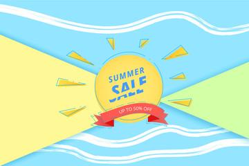 Summer Sale banner. Vector illustration.