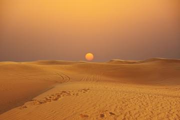 Photo sur Toile Desert de sable Scenic sunset over Arabian Desert with sand dunes, wilderness desert landscape or panorama