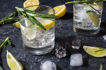 Alcoholic drink gin tonic cocktail with lemon, rosemary and ice on stone table