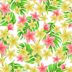 Vector seamless tropical pattern with palm leaves and plumeria flowers on light background.  Floral illustration for textile, print, wallpapers, wrapping.