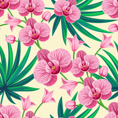 Vector seamless tropical pattern with palm leaves and orchid flowers on light yellow background.  Floral illustration for textile, print, wallpapers, wrapping.