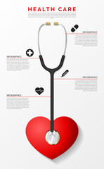 Medical and Health. Infographic design template with stethoscope