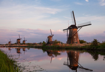 Sunset with traditional Dutch windmills in Kinderdijk