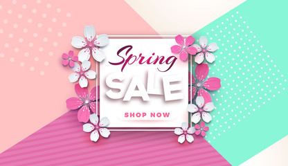 Spring sale floral banner with paper cut blossoming pink cherry flowers on a stylish geometric background for seasonal banner design, flyer, poster, website.