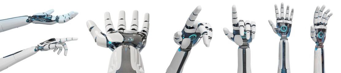 White cyborg pointing his finger 3D rendering