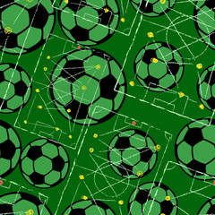 Soccer ball seamless pattern with strategy drawing, football background, vector illustration