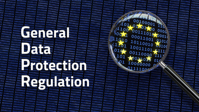 General Data Protection Regulation GDPR words - Looking at data through magnifying glass