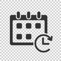 Calendar vector icon. Reminder agenda sign illustration. Business concept simple flat pictogram on isolated transparent background.
