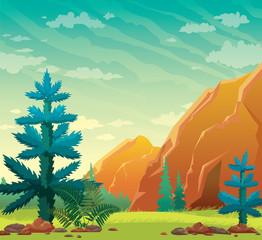 Summer nature illustration - fir, mountain, cave, grass