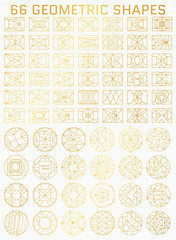 Set of geometric line icons of square and round shapes. Retro modern vector illustration for background and templates for design objects.